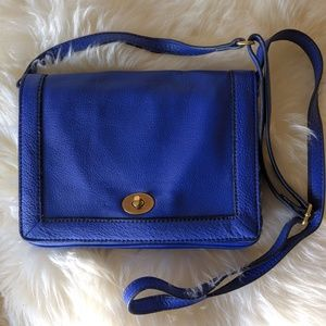 Jcrew blue leather clutch purse